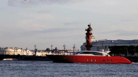 cruising motor yacht Stock Video Footage
