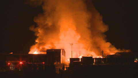 Wide view of a large fire Stock Video Footage