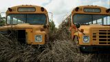 Two Broken School Bus stock footage