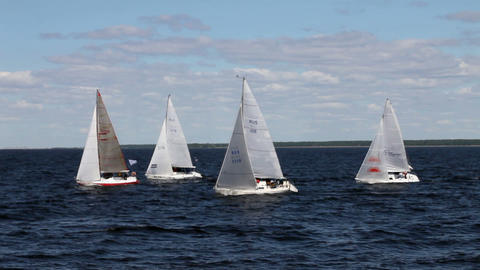 race is sailing ships Stock Video Footage