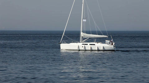 white yacht Stock Video Footage