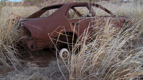 junk car dry grass Stock Video Footage