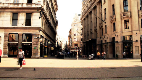 European City Street Budapest Hungary 14 stylized artsoft... Stock Video Footage
