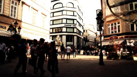 European City Street Budapest Hungary 18 stylized artsoft... Stock Video Footage