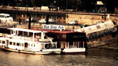 Pest Wharf in Budapest Hungary stylized artsoft diffusion Stock Video Footage