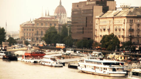 Pest Wharf View with the Parliament Building Budapest... Stock Video Footage