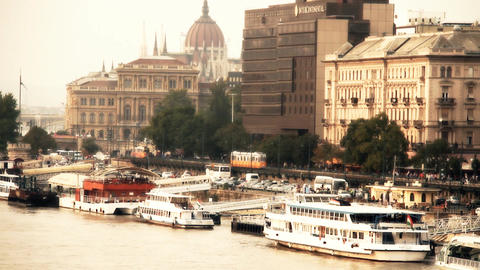 Pest Wharf View with the Parliament Building Budapest Hungary stylized artsoft filmlook Footage