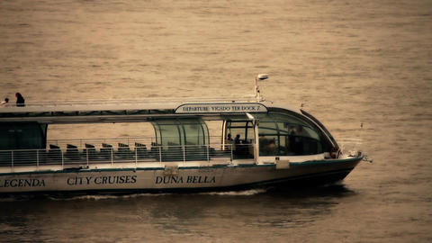 Tourist Ship on River Danube in Budapest Hungary stylized artsoft filmlook Footage