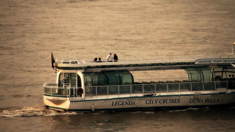Tourist Ship on River Danube in Budapest Hungary stylized... Stock Video Footage