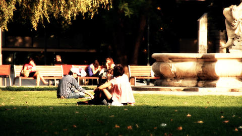 Young People in a Park stylized artsoft filmlook Stock Video Footage