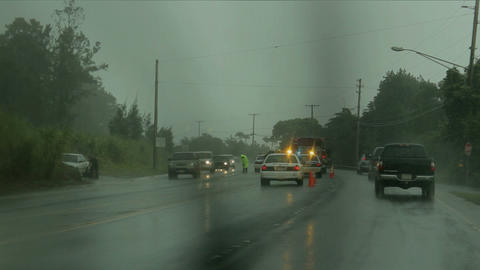 car accident rainy day 3 Stock Video Footage