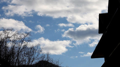 Cloudscape and Roof Timelapse Stock Video Footage