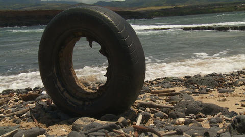 bald tire on the beach Stock Video Footage