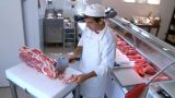 Butcher Cutting Meat stock footage