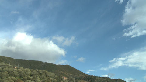 clouds running timelapse on italian landscape of olive trees Stock Video Footage