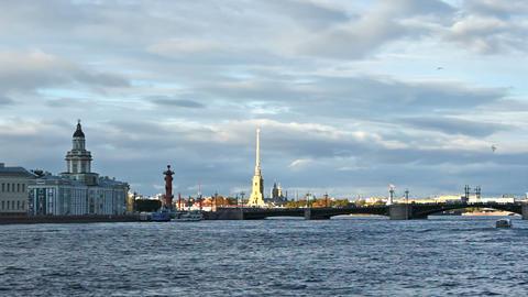 University Embankment and Palace Bridge, timelapse Footage