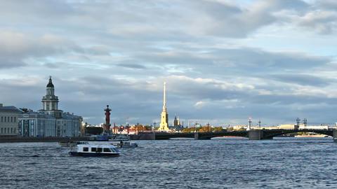 University Embankment and Palace Bridge, timelapse Stock Video Footage