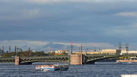 Palace Bridge and water transport Stock Video Footage