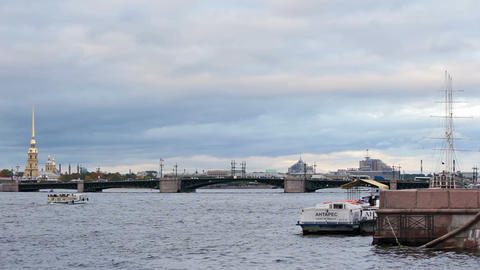 Palace Bridge, Fortress and Admiralty Embankment Stock Video Footage