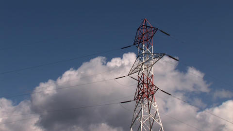 Power Lines with Clouds Timelapse Stock Video Footage