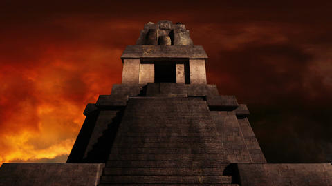 Maya Pyramid Dramatic Sunset 02 Stock Video Footage