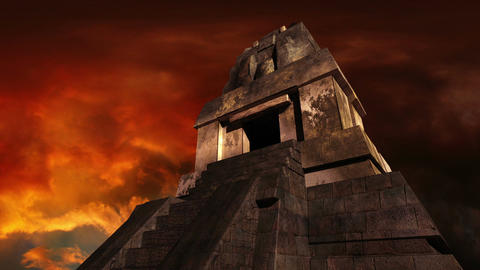 Maya Pyramid Dramatic Sunset 04 Stock Video Footage