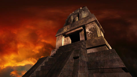 Maya Pyramid Dramatic Sunset 04 Animation
