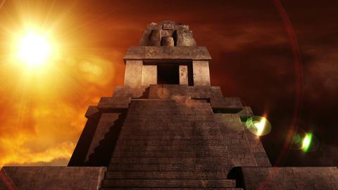 Maya Pyramid Dramatic Sunset 07 Stock Video Footage