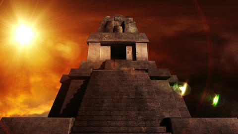 Maya Pyramid Dramatic Sunset 07 Stock Video Footage