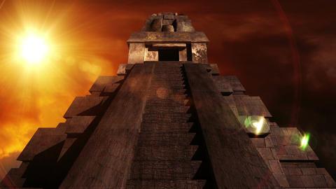 Maya Pyramid Dramatic Sunset 09 Stock Video Footage