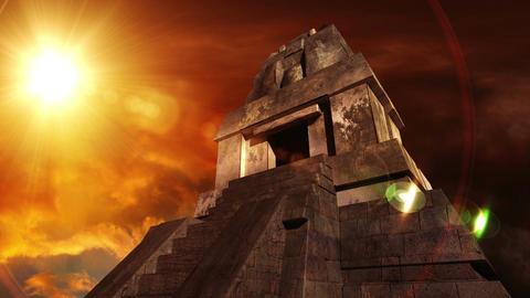 Maya Pyramid Dramatic Sunset 11 Stock Video Footage