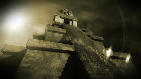 Maya Pyramid Dramatic Sunset 13 Stock Video Footage