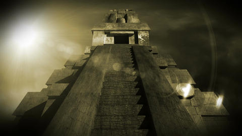 Maya Pyramid Dramatic Sunset 15 Stock Video Footage