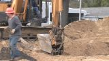 Back Hoe Street Construction Footage