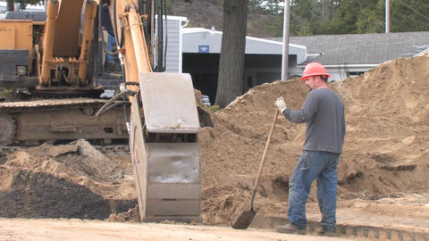 Back Hoe Street Construction Stock Video Footage