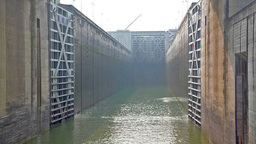 Accelerated video of the opening of the gate of a canal lock Footage