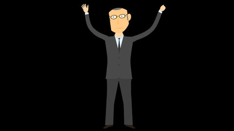 happy business man character 05 Animation