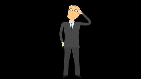 Cartoon character Businessman thinking alpha 05 Animation