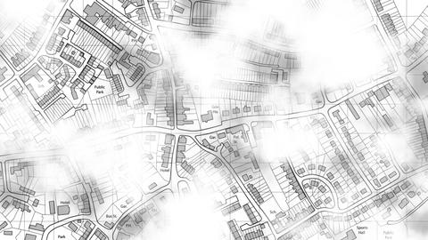 Clouds Drifting Over Town Map stock footage