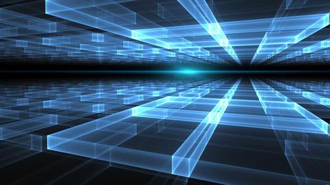 blue geometrical horizon with rays of light Animation