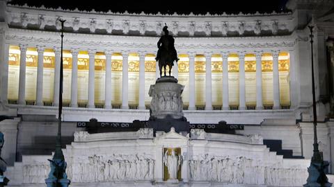 Monumento a Vittorio Emanuele II. Night. Rome, Italy Footage