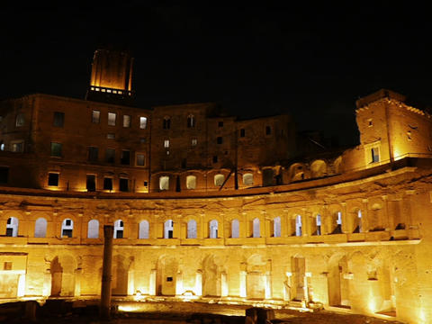 The ruins of Trajan's Market, Night. Rome, Italy. 640x480 Footage