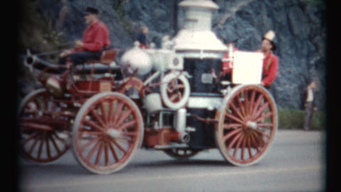 (1950's 8mm Vintage) Old Time Fireman Parade Floats Footage