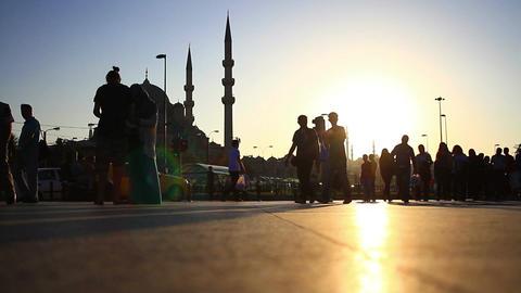 Stop motion urban scene during sunset. Eminonu Pier in Istanbul City, Turkey. Ti Footage