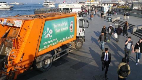 Workers collect garbage in Istanbul Footage