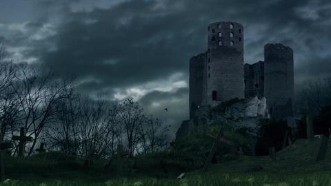 Dark castle and cemetery during storm Animation