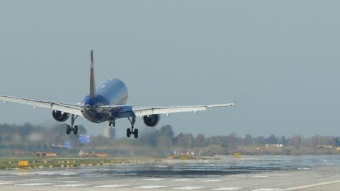 Passenger airplane landing Live Action