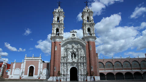 Tlaxcala, Mexico-August 2014: TIME LAPSE-DOLLY OUT. Ocotlan's Church stock footage