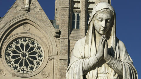 Statue in front of the Basilica of our Lady Immaculata in Guelph, Ontario Footage