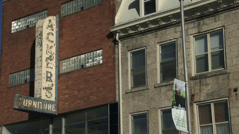 Establishing shot of old building in downtown Guelph, Ontario Footage